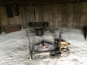 Inside the house based on one from Danebury hillfort at Butser Ancient Farm