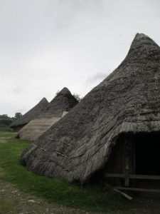 The reconstructed village at Castell Henllys