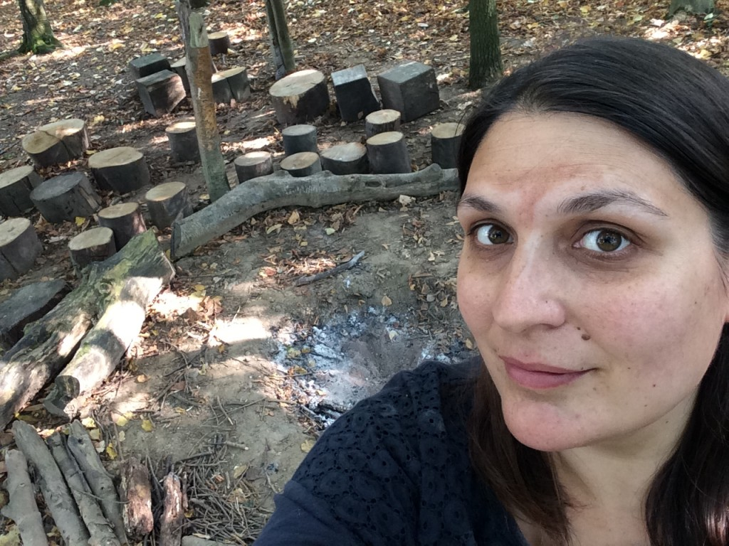 Our director Kim at the Stone Age camp at the Chiltern Open Air Museum
