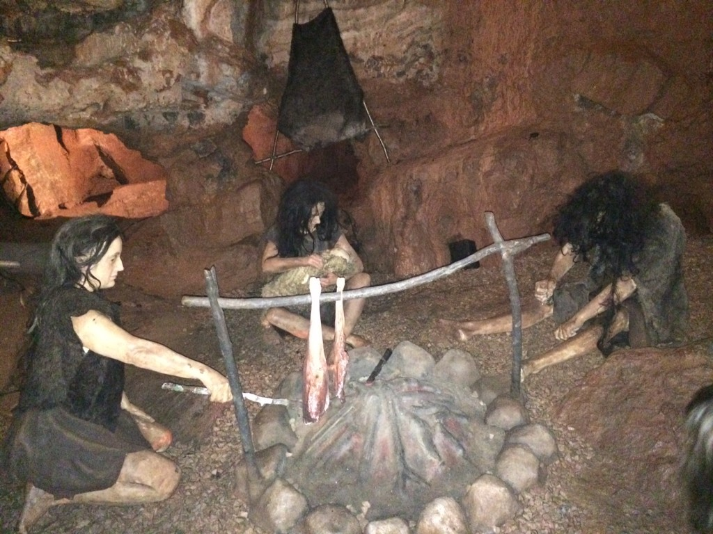 Tableau of life in the cave at Kents Cavern