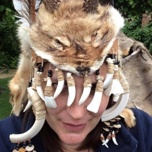 Me in a replica headdress of a possible Mesolithic female shaman from Bad Dürrenberg, Germany, made by James Dilley of Ancient Craft