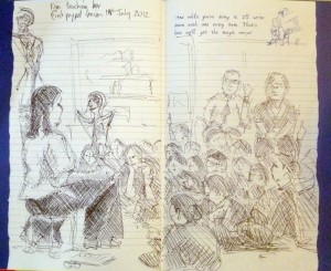 Me teaching a shadow puppet session at the Pitt Rivers Museum, drawing done by the head of education there, Andrew McLellan