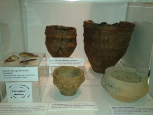 Prehistoric pottery vessels in Charnwood Museum. Photograph courtesy of Leicestershire County Council.