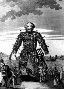 18th century engraving of a Wicker Man. By UnknownMidnightblueowl at en.wikipedia [Public domain], from Wikimedia Commons