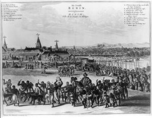 Benin City imagined by Olfert Dapper in 1668. By D. O. Dapper [Public domain], via Wikimedia Commons